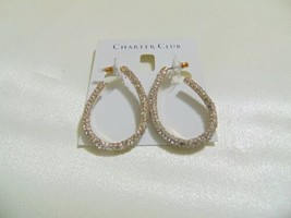 "Charter Club 1-3/4"" Gold-Tone Pave Elongated Hoop Earrings L747 $34 - $10.35"
