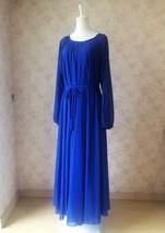 COBALT BLUE Plus Size Long Chiffon dress Gowns Prom Dress Long Sleeve Dresses image 4