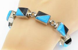 MEXICO 925 Silver - Vintage Turquoise & Black Onyx Chain Bracelet - B5939 - $145.14