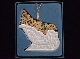 LENOX White Gold Sleigh Christmas Ornament  in Box - $14.82