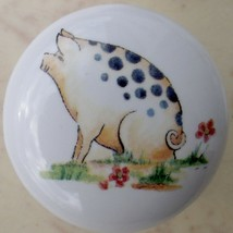 Ceramic Knobs Knob w/ Folksie Pig #2 Swine Sow Boar - $5.25