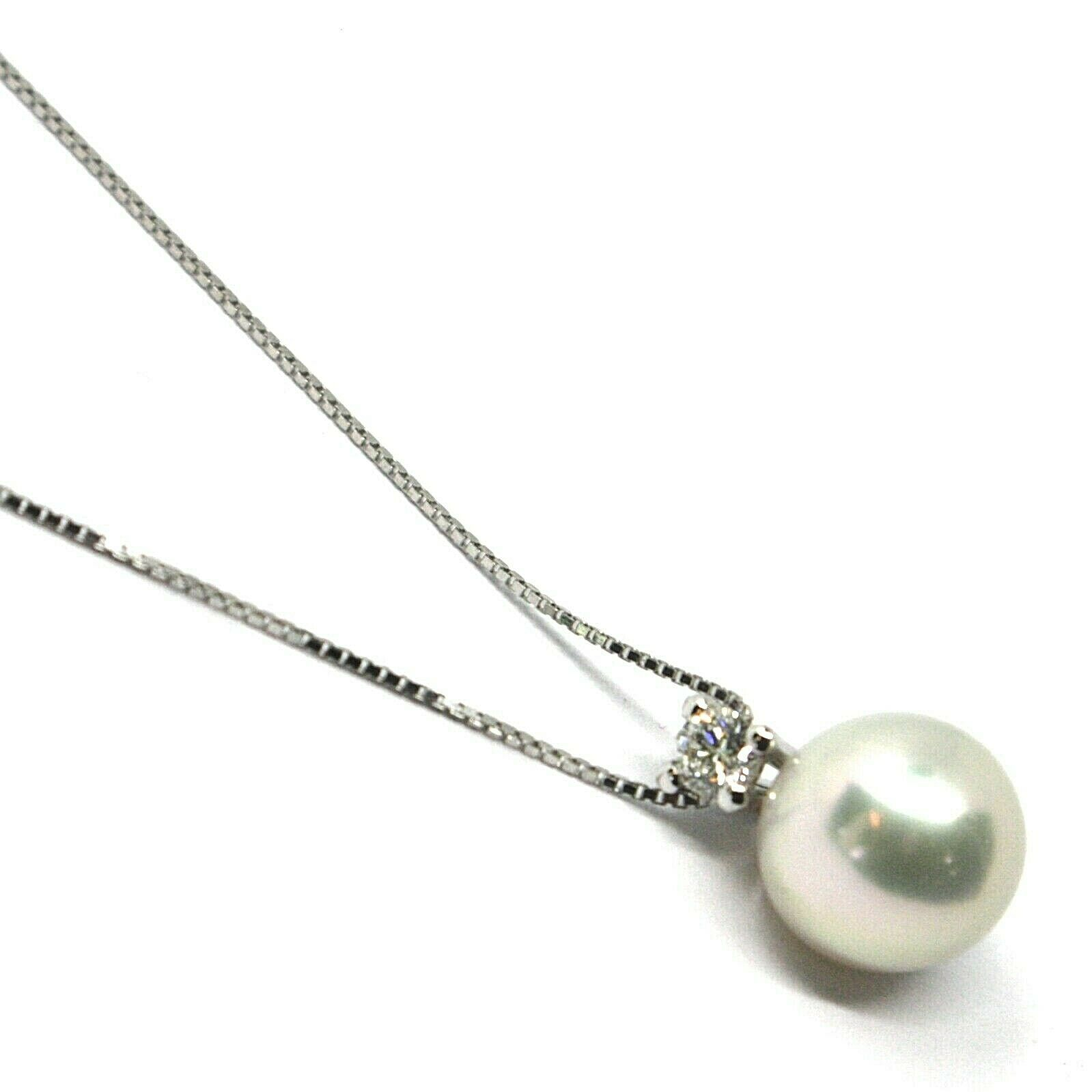 18K WHITE GOLD NECKLACE & PENDANT, SALTWATER AKOYA PEARL 7.5/8 MM, DIAMOND 0.07