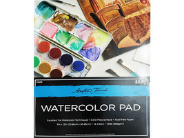 """Master's Touch Watercolor Pad, 9x12"""", 12 Sheets, 140lb (300gsm) #215376"""