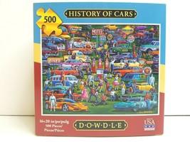 History Of Cars 500 Pc Puzzle Eric Dowdle Folk Art Fun Entertain Mind Gi... - $24.74