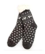 Urban-Peacock Knitted Fleece Sherpa Lined Slipper Socks- Dark Grey w Hea... - $10.95