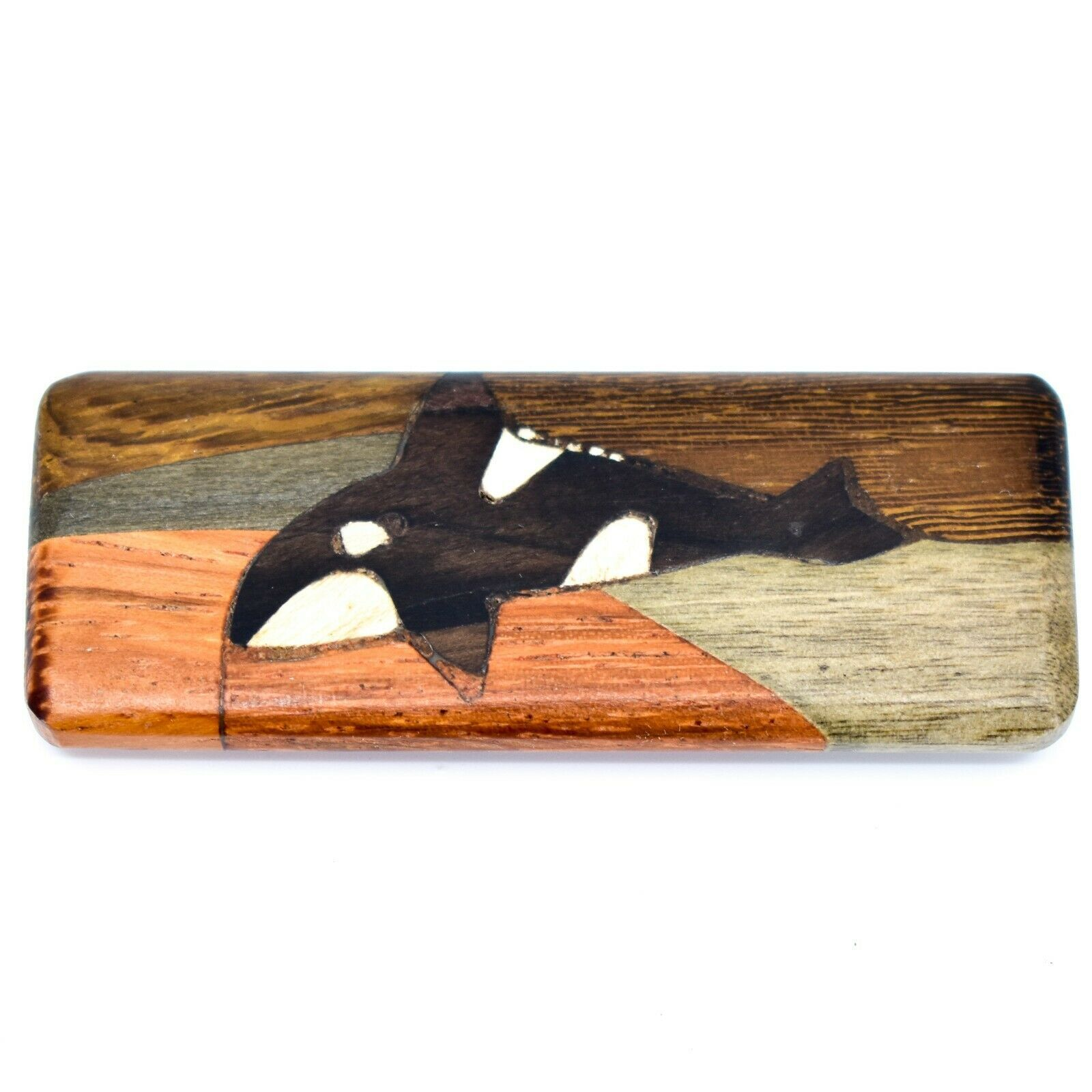 Northwoods Wooden Parquetry Rustic Orca Whale Design Tile Magnet