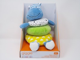 Manhattan Toy Giggle Soft Stacker Baby Toy, Blue Hippo - New - $23.74