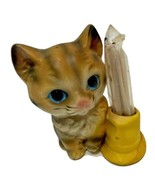 Vintage Ceramic Kitten and Hat Toothpick Holder Made In Japan - $12.60