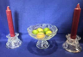 Teleflora compote & candle holders, embossed pears with leaves, vintage ... - $24.74