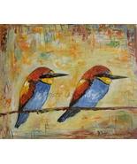 Small Birds Original Oil Painting Fine Art Impressionism Duet Palette Knife - $75.00
