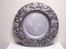 "Longaberger Falling Leaves & Acorns 8"" Pewter Candle Plate 2001 - $17.99"