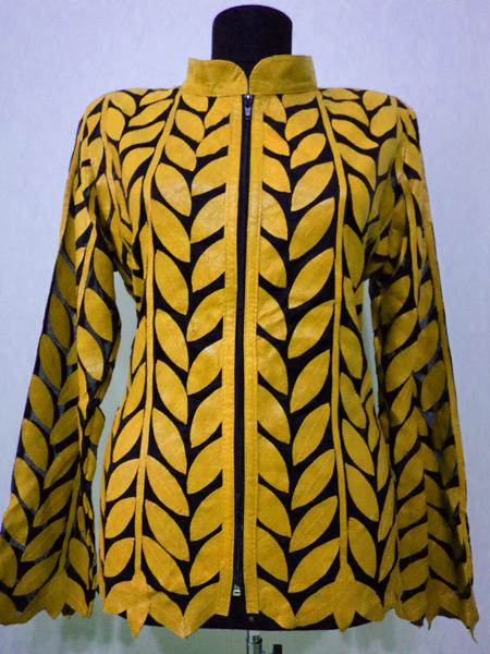 Flower Pattern Black Leather Leaf Jacket Women All Colors Sizes Genuine Short D4