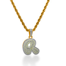 """925 Sterling Silver Gold Plated Custom Iced Out Bubble Letter """"R"""" with 24"""" Chain - $79.99"""