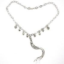 Halskette Silber 925, Kette Oval, Wasserfall, Fransen, Kugel Gearbeitet Anhänger image 1