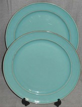 Set (2) Pottery Barn CAMBRIA PATTERN - TURQUOISE COLOR Dinner Plates - $23.75