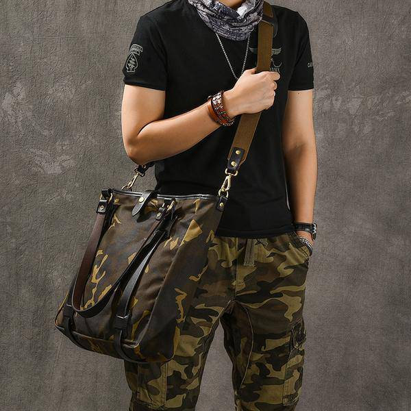 Sale, Canvas Men Tote Bag, Camouflage Shoulder Bag, Vintage Men Messenger Bag image 2