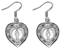 HOT Sterling Silver 925 Earrings Blessed Devotion To the Heart of Virgin... - $16.84