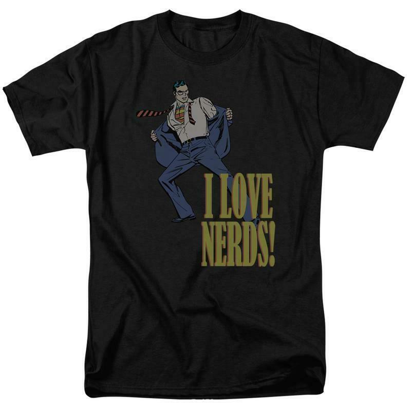 Superman t shirt love nerds dc comics batman superhero retro cotton tee dco422