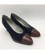 Liz Claiborne Women's Navy Blue Brown TipHeels Kitten,Size 7.0 - $18.81