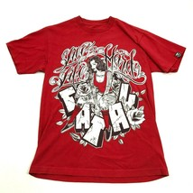 FATAL Live Life Hard Script Shirt Size M Graphic Tee Red Loose Fit Tatto... - $9.16