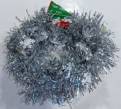 """Silver Tinsel Garland With 1.5"""" Snowflakes Garland is 2"""" wide X 12' long... - $6.50"""