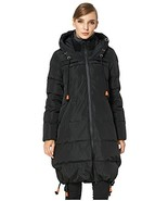 Orolay Women's Thickened Contrast Color Drawstring Down Hooded Coat Black M - $118.69