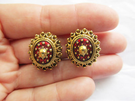 Joan Rivers Red Enamel and Gold Tone Clip On Earrings. Retired QVC  - $13.00