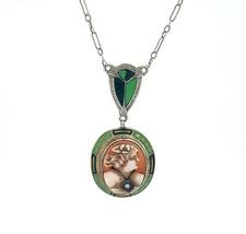 14k White Gold Deco Enamel and Diamond Genuine Natural Cameo Pendant (#J... - $445.50