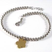 Bracelet or Jaune Blanc 18k 750, Boules et Pendentif Fleur, Made In Italy - $450.45