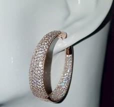 ZirconZ Custom-Pave InSideOut Signity CZ Rose Sterling Silver Wide Hoop Earrings - $199.99