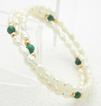 VTG FRESHWATER PEARLS & Malachite Gemstone Adjustable Expandable Bracelet image 2