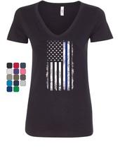 Thin Blue Line American Flag Women's V-Neck T-Shirt Stars and Stripes Po... - $16.74+