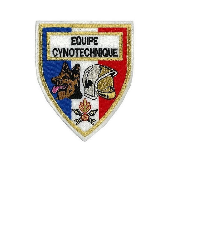 Ers equipe cynotechnique french fire department k 9 unit  white felt small 3.25 x 2.75 in  10.99