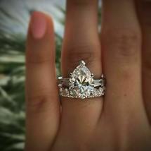 Certified 3.90Ct White Pear Diamond Engagement Wedding Ring Set 14K Whit... - €289,92 EUR