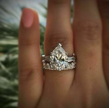 Certified 3.90Ct White Pear Diamond Engagement Wedding Ring Set 14K Whit... - £242.45 GBP