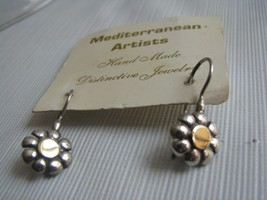 Figural  Wire earrings Sterling silver and 14K gold Handcrafted Daisy F... - $49.45