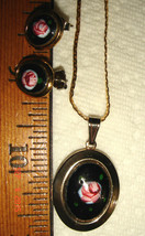 VTG ROMANTIC ROSES GOLD FILLED ENAMEL GUILLOCHE LOCKET NECKLACE 2pr EARR... - $237.99