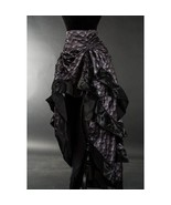 Gray Dragon Scale Ruffle Trim Corset Back Long 3 Layer Victorian Goth Skirt - $71.25