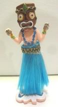 Dancing Hawaiian Hula Dancer Wearing Warrior Mask Skulls on Hands Blue S... - $24.70