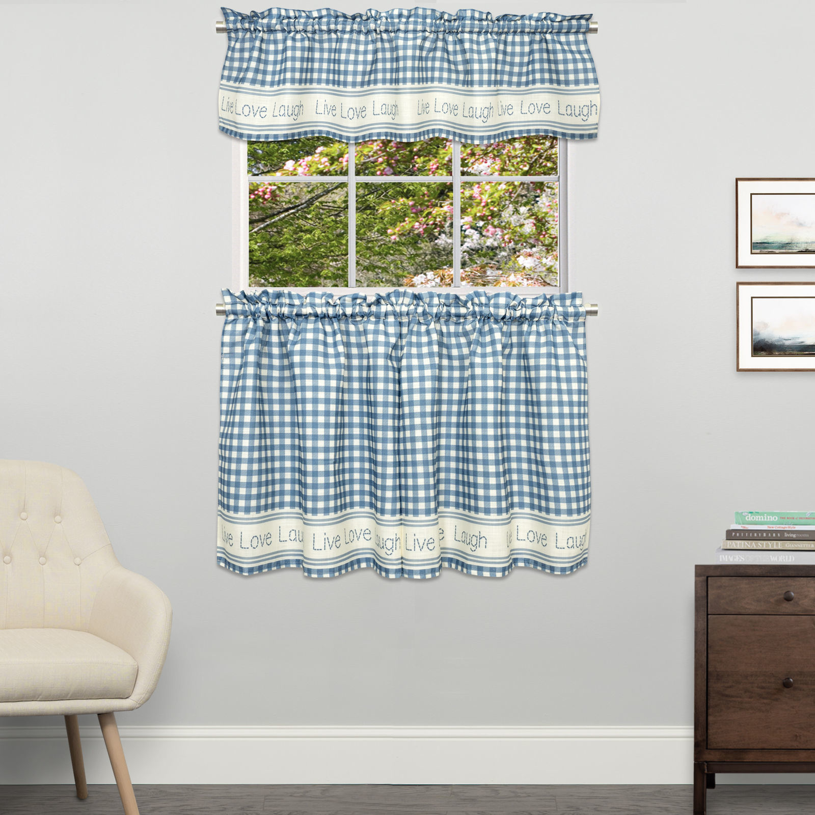 Gingham Stitch Live Laugh Love Kitchen Curtain Tier Pair or Valance Blue - $14.59