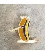 HOT DOG Skier Novelty Funny Humor Ski Souvenir Vintage Lapel Hat Pin Fre... - $12.99