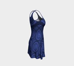 Ornate Midnight Blue Flare Skater Dress image 3
