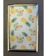 Floral Pineapple Wallpaper Silver Metal Cigarette Case RFID Protection W... - $13.81