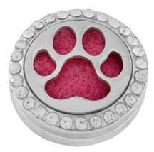 Silver Pink Paw Aromatherapy Diffuser Locket 20mm Snap Charm for Ginger ... - $9.75
