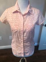 NWOT THE NORTH FACE Peach Fleur de Lis Fitted Shirt Blouse SZ S/P - $48.51