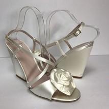 Kate Spade Heels Sz 10 Imari Rose Peep Bridal Wedding Formal Wedge Ivory Satin   - $98.99