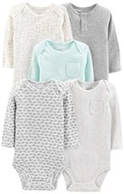 Simple Joys by Carter's Baby 5-Pack Neutral Long-Sleeve Bodysuit, Grey/B... - $23.75