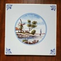 "Westraven Anno Tile Wipmolen Windmill Landscape 5 3/16"" Holland Delft - $20.00"