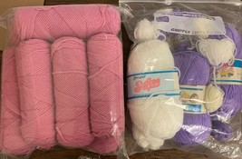 12 Skein YARN Worsted Weight Acrylic pink, purple, white - $19.17