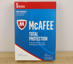 McAfee 2017 Total Protection 1 Year 5 Devices Keycard MTP17ETG5RAA - $15.83